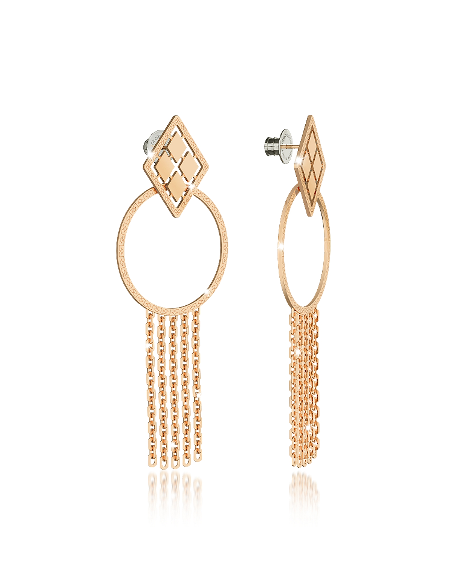 Rebecca Earrings, Melrose Yellow Gold Over Bronze Drop Hoop Earrings w/Chain Fringes