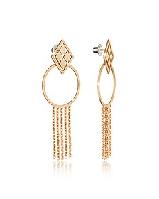 Melrose Yellow Gold Over Bronze Drop Hoop Earrings w/Chain Fringes - Rebecca