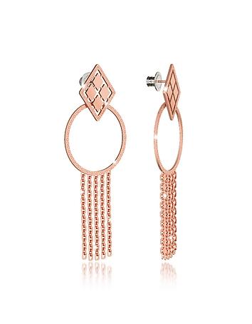 Rebecca - Melrose Rose Gold Over Bronze Drop Hoop Earrings w/Chain Fringes