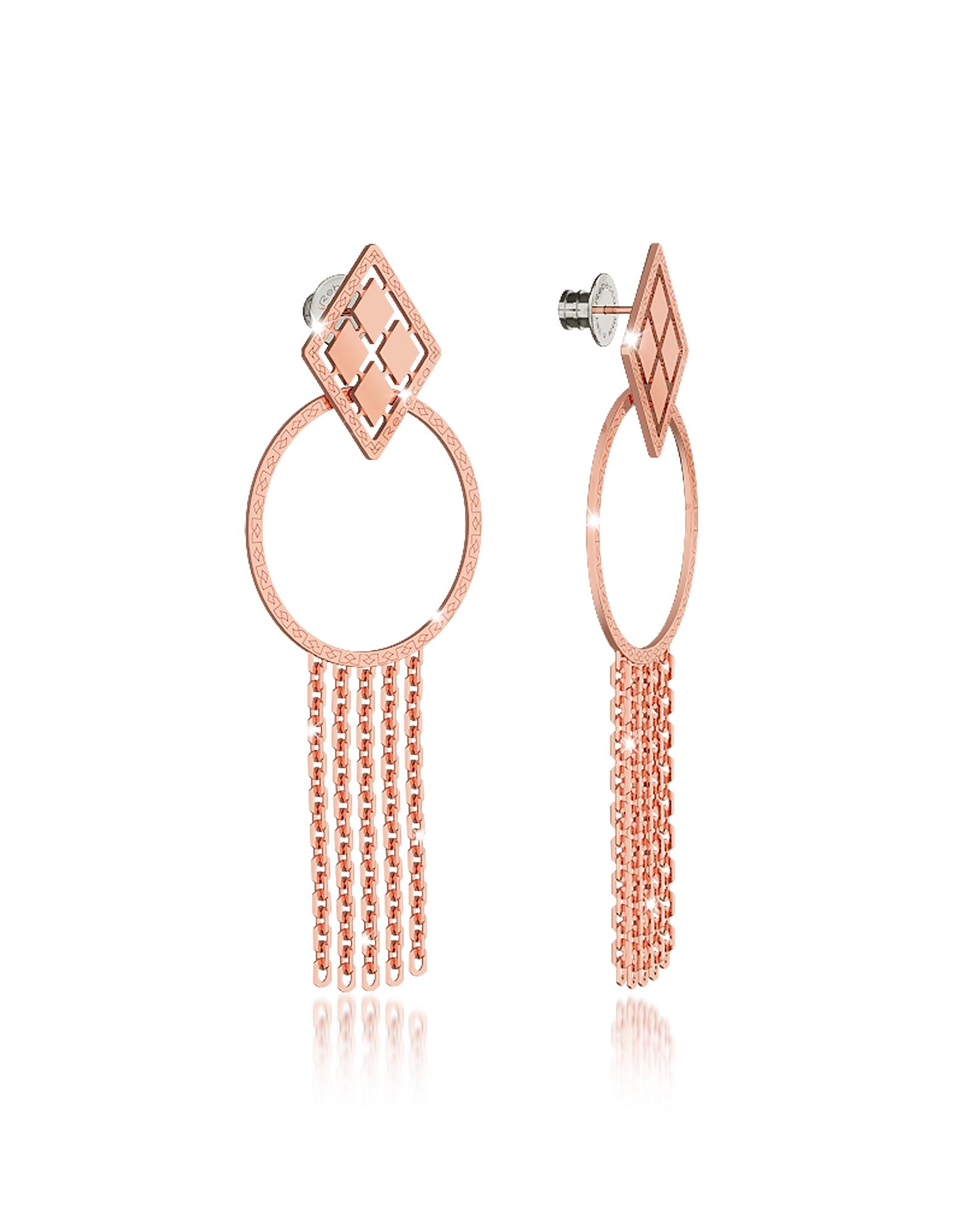 Rebecca Earrings, Melrose Rose Gold Over Bronze Drop Hoop Earrings w/Chain Fringes