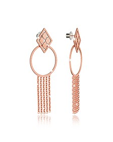 Melrose Rose Gold Over Bronze Drop Hoop Earrings w/Chain Fringes - Rebecca