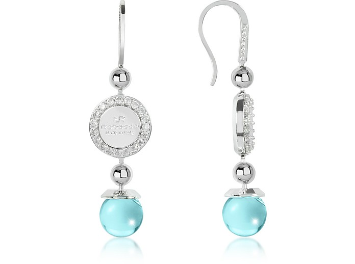 Boulevard Stone Rhodium Over Bronze Dangle Earrings w/Turquoise Hydrothermal Stone - Rebecca