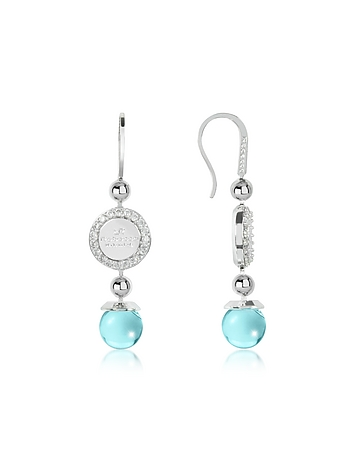 Rebecca - Boulevard Stone Rhodium Over Bronze Dangle Earrings w/Turquoise Hydrothermal Stone