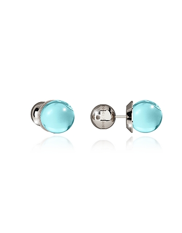 Rebecca - Boulevard Stone Rhodium Over Bronze Stud Earrings w/Turquoise Hydrothermal Stone