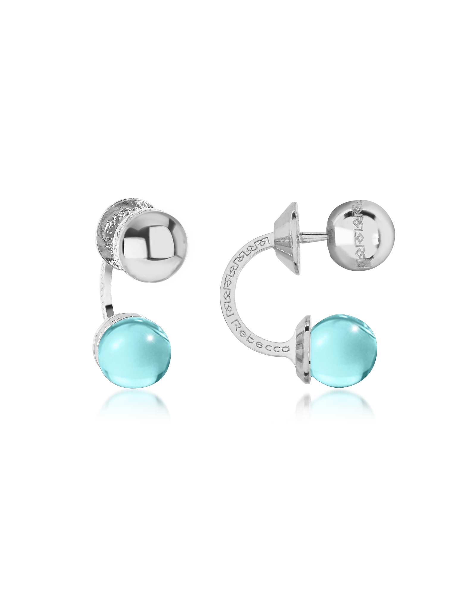 Boulevard Stone Rhodium Over Bronze Double Ball Drop Earrings w/Turquoise Hydrothermal Stone