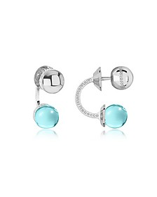 Boulevard Stone Rhodium Over Bronze Double Ball Drop Earrings w/Turquoise Hydrothermal Stone - Rebecca