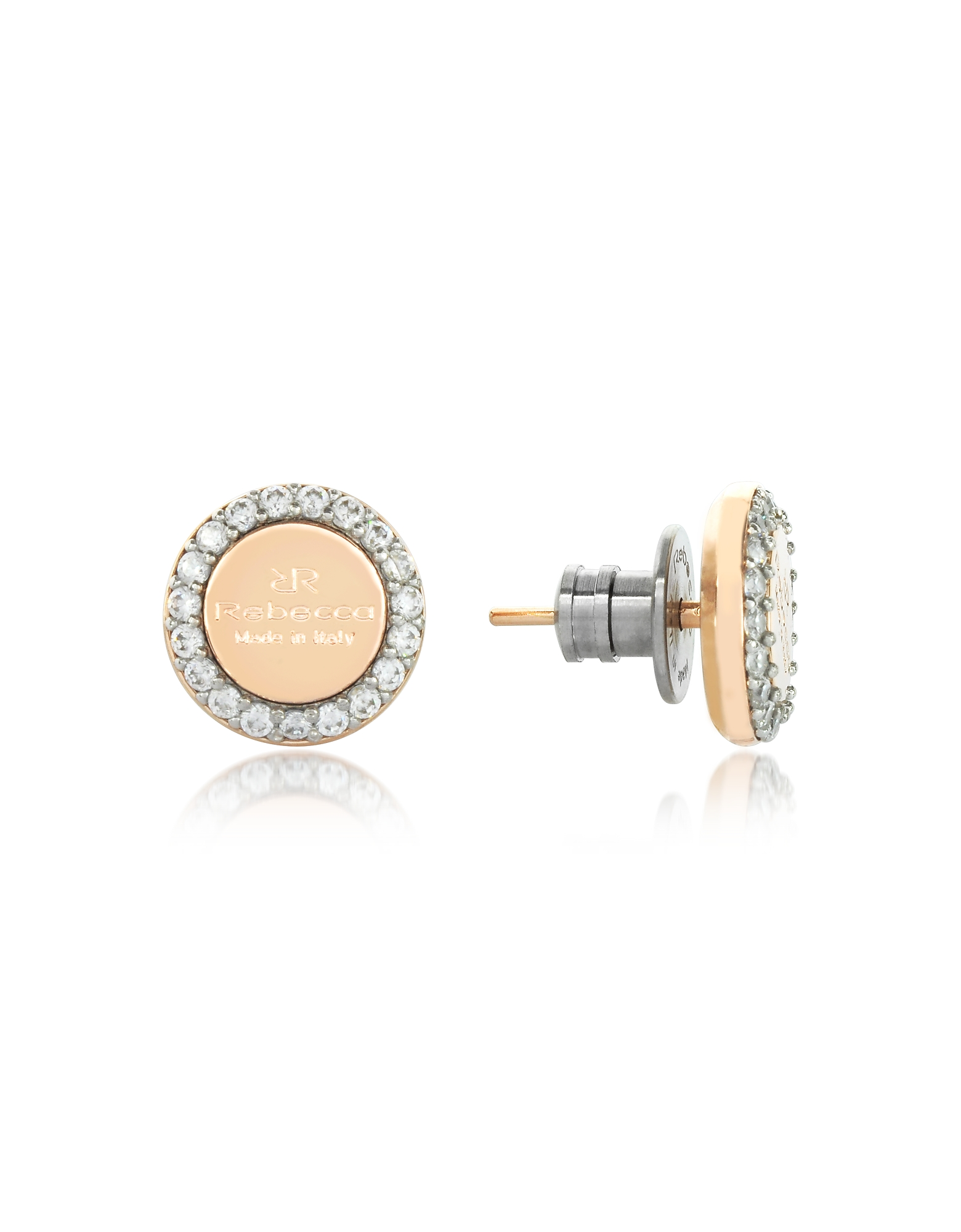 Boulevard Stone Yellow Gold Over Bronze Stud Earrings w/Stones