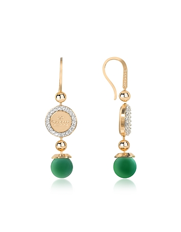 Rebecca - Boulevard Stone Yellow Gold Over Bronze Dangle Earrings w/Green Hydrothermal Stone