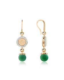 Boulevard Stone Yellow Gold Over Bronze Dangle Earrings w/Green Hydrothermal Stone - Rebecca