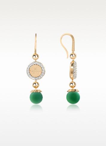 Boulevard Stone Yellow Gold Over Bronze Dangle Earrings w/Green Hydrothermal Stone - Rebecca