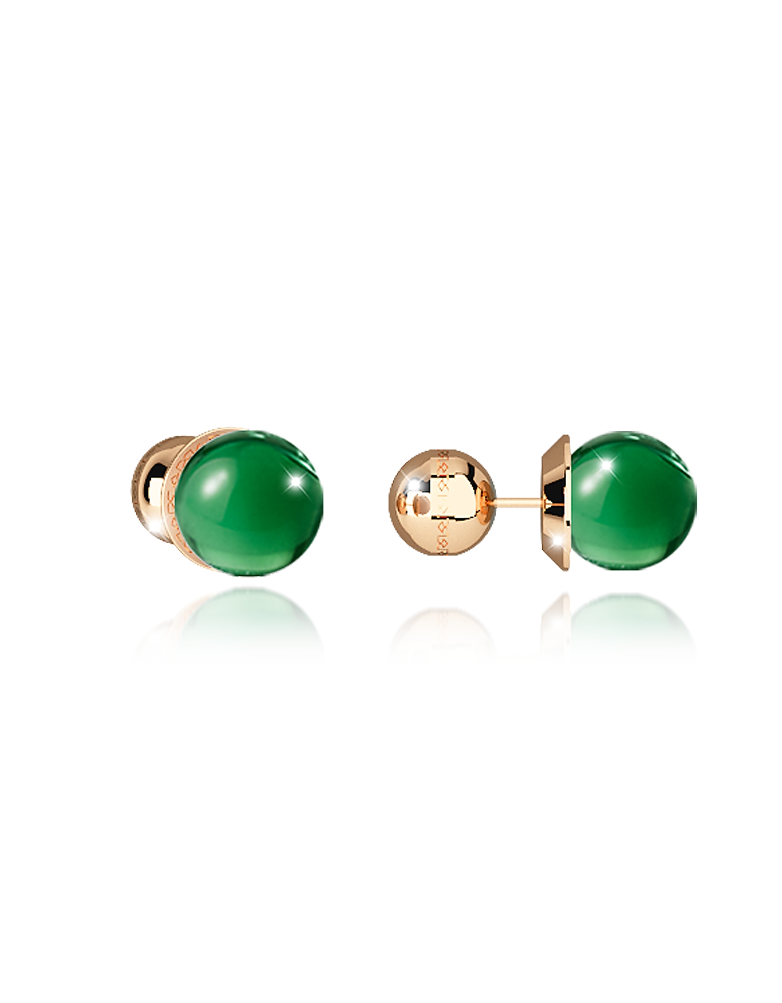 Boulevard Stone Yellow Gold Over Bronze Stud Earrings w/Green Hydrothermal Stone