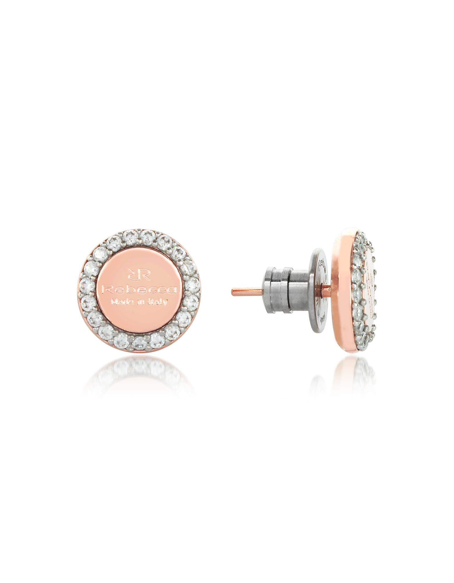 Rebecca Earrings, Boulevard Stone Rose Gold Over Bronze Stud Earrings w/Stones