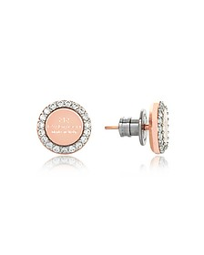 Boulevard Stone Rose Gold Over Bronze Stud Earrings w/Stones - Rebecca