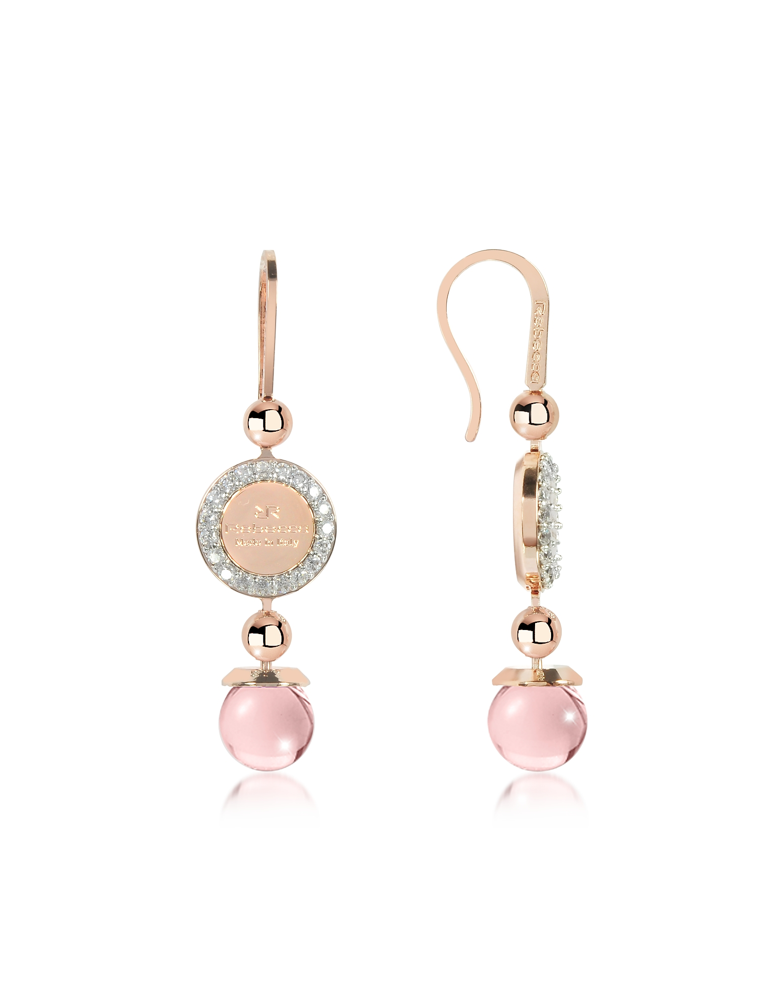 Rebecca Earrings, Boulevard Stone Rose Gold Over Bronze Dangle Earrings w/Pink Hydrothermal Stone