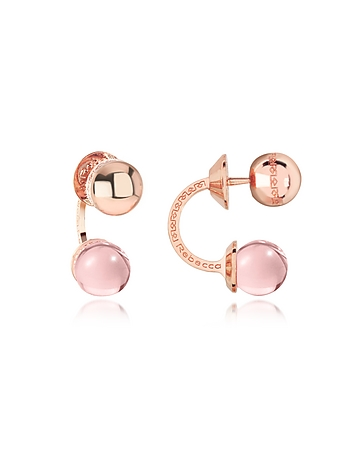 Rebecca - Boulevard Stone Rose Gold Over Bronze Double Ball Drop Earrings w/Pink Hydrothermal Stone