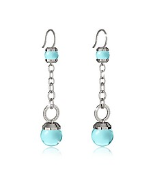 Hollywood Stone Rhodium Over Bronze Dangle Earring w/Turquoise Hydrothermal Stone - Rebecca