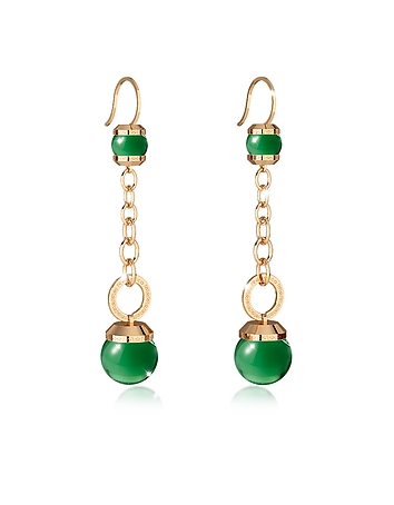 Rebecca - Hollywood Stone Yellow Gold Over Bronze Dangle Earring w/Green Hydrothermal Stone