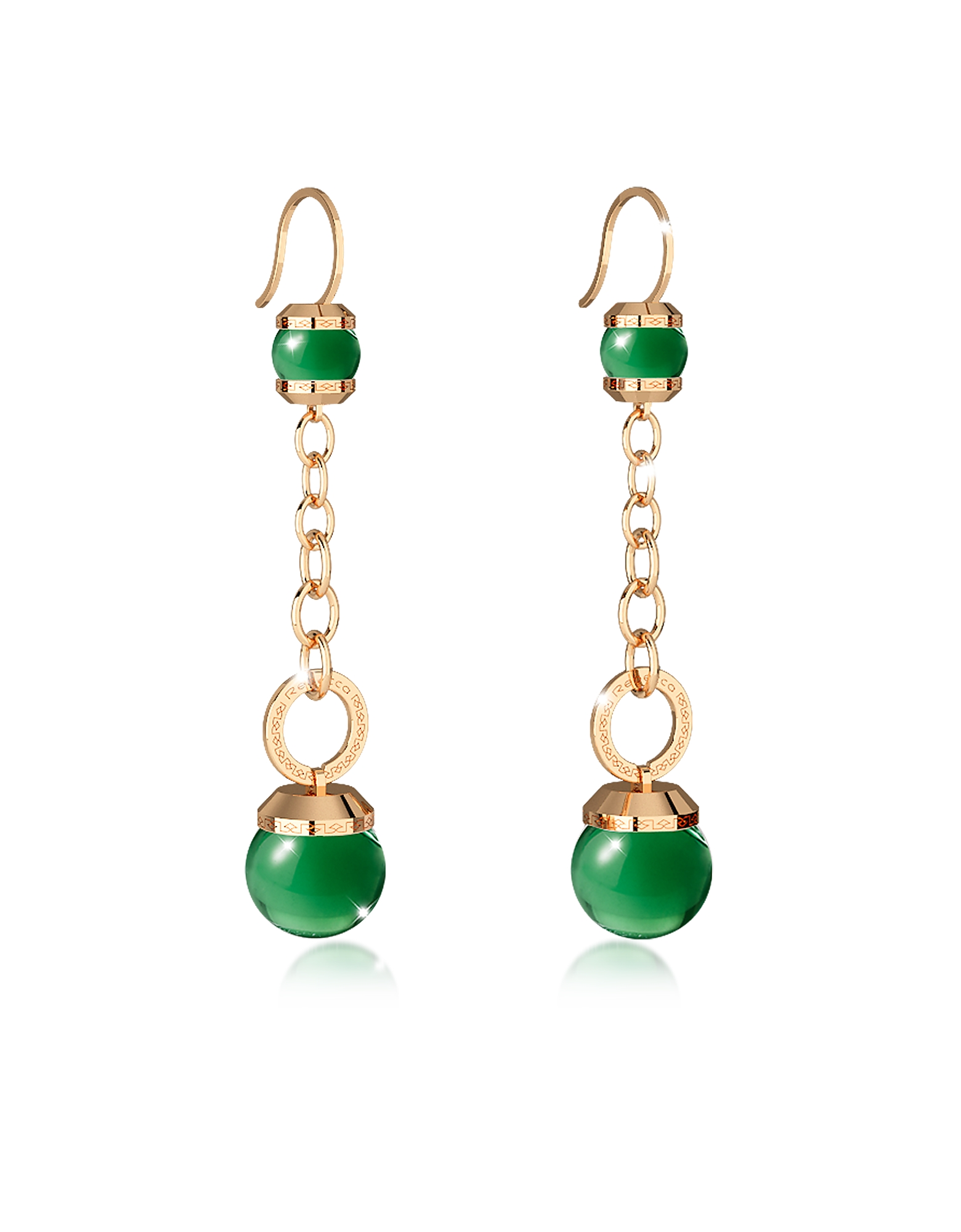 Rebecca Earrings, Hollywood Stone Yellow Gold Over Bronze Dangle Earring w/Green Hydrothermal Stone