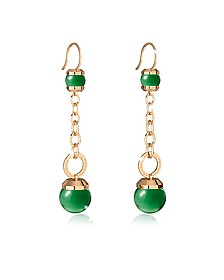 Hollywood Stone Yellow Gold Over Bronze Dangle Earring w/Green Hydrothermal Stone - Rebecca