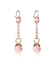 Hollywood Stone Rose Gold Over Bronze Dangle Earring w/Pink Hydrothermal Stone - Rebecca