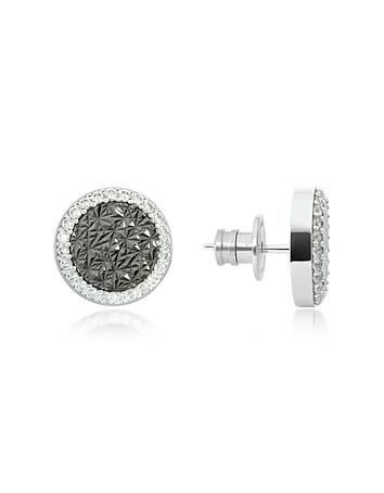 Rebecca - R-Zero Rhodium Over Bronze Stud Earrings w/Stones