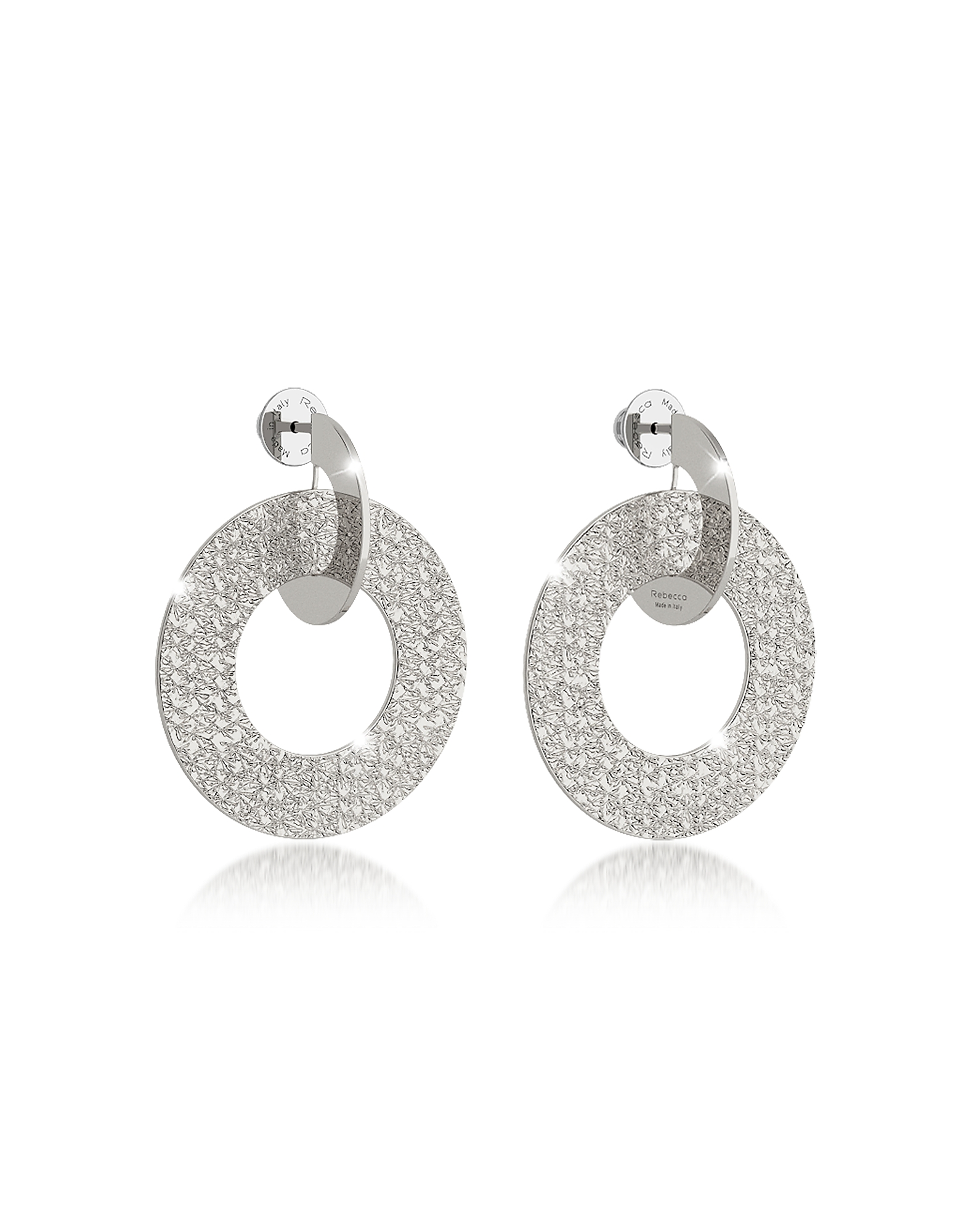 R-Zero Rhodium Over Bronze Drop Hoop Earrings, Silver