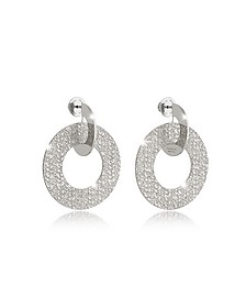 R-Zero Rhodium Over Bronze Drop Hoop Earrings - Rebecca