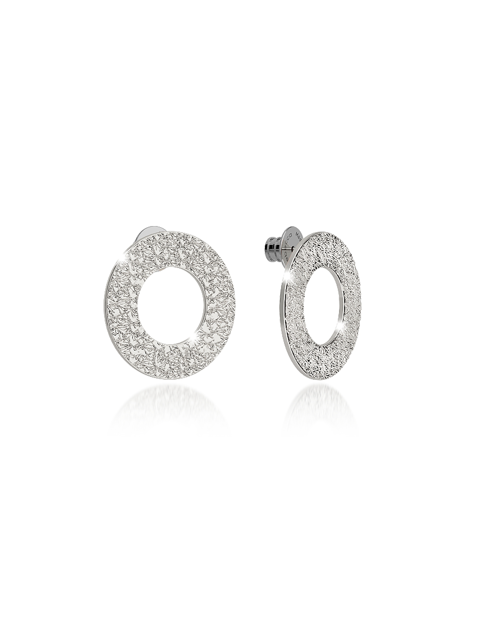 Rebecca Earrings, R-Zero Rhodium Over Bronze Stud Drop Earrings