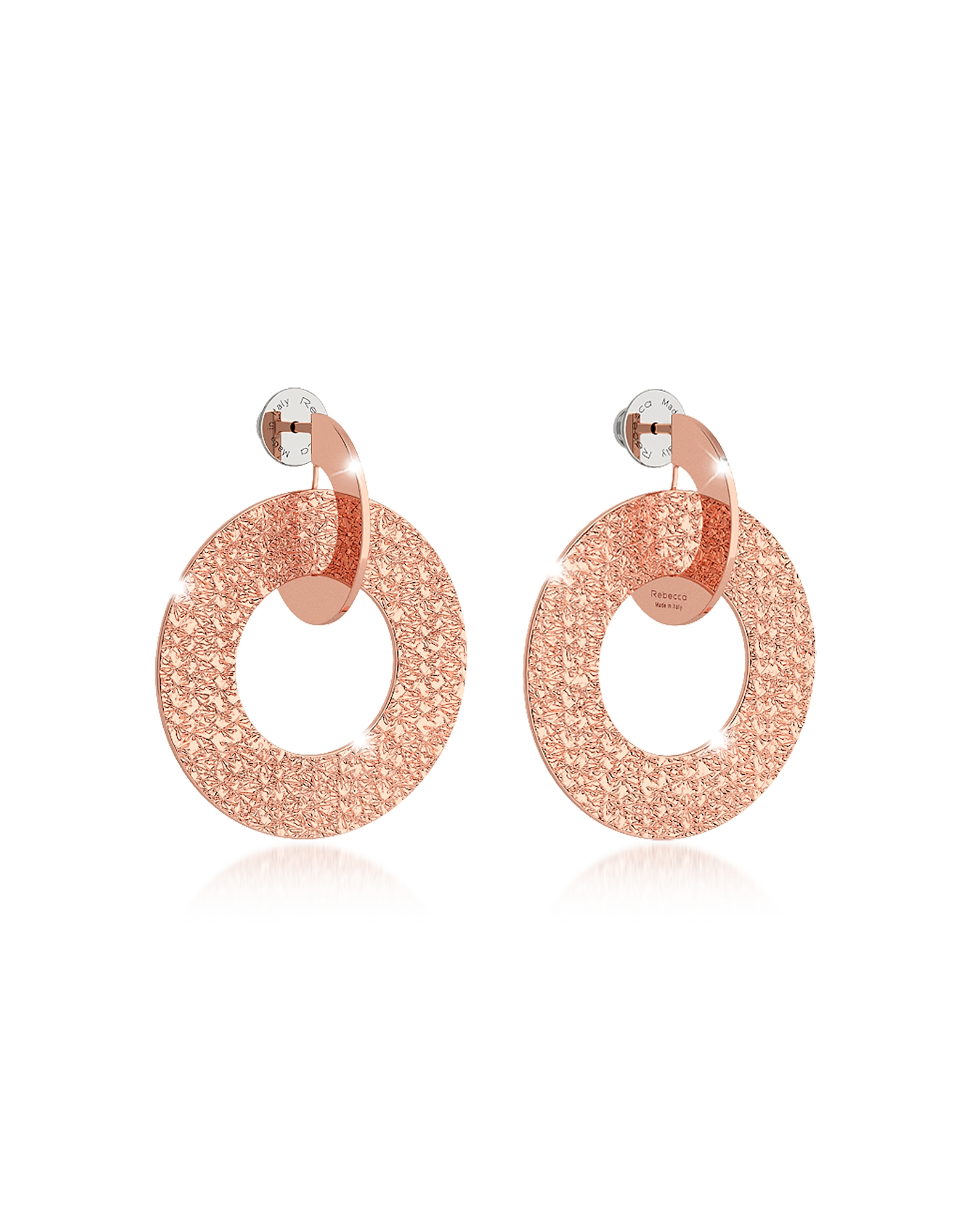 Rebecca Earrings, R-Zero Rose Gold Over Bronze Drop Hoop Earrings