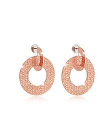 R-Zero Rose Gold Over Bronze Drop Hoop Earrings - Rebecca