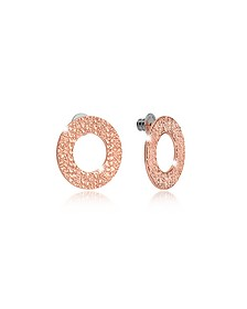R-Zero Rose Gold Over Bronze Stud Drop Earrings - Rebecca