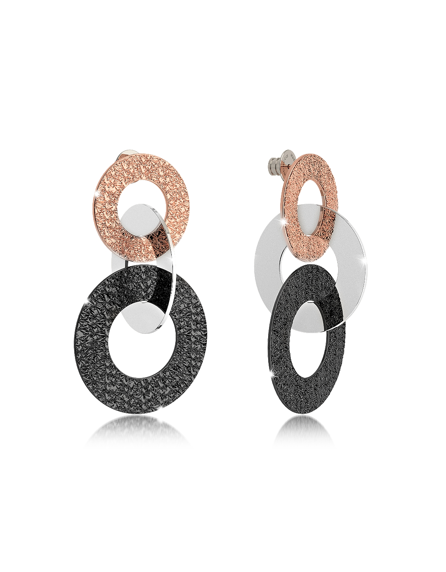 Rebecca Earrings, R-Zero Black Ruthenium and Rose Gold Over Bronze Stud Drop Earrings