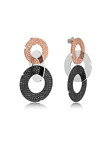 R-Zero Black Rhodium and Rose Gold Over Bronze Stud Drop Earrings - Rebecca