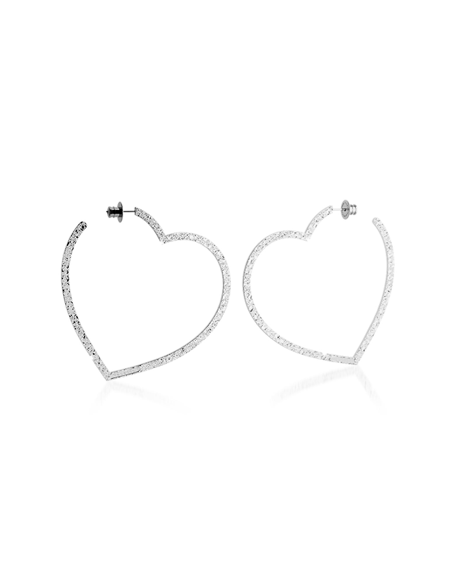 R-ZERO Rhodium Over Bronze Heart Earrings