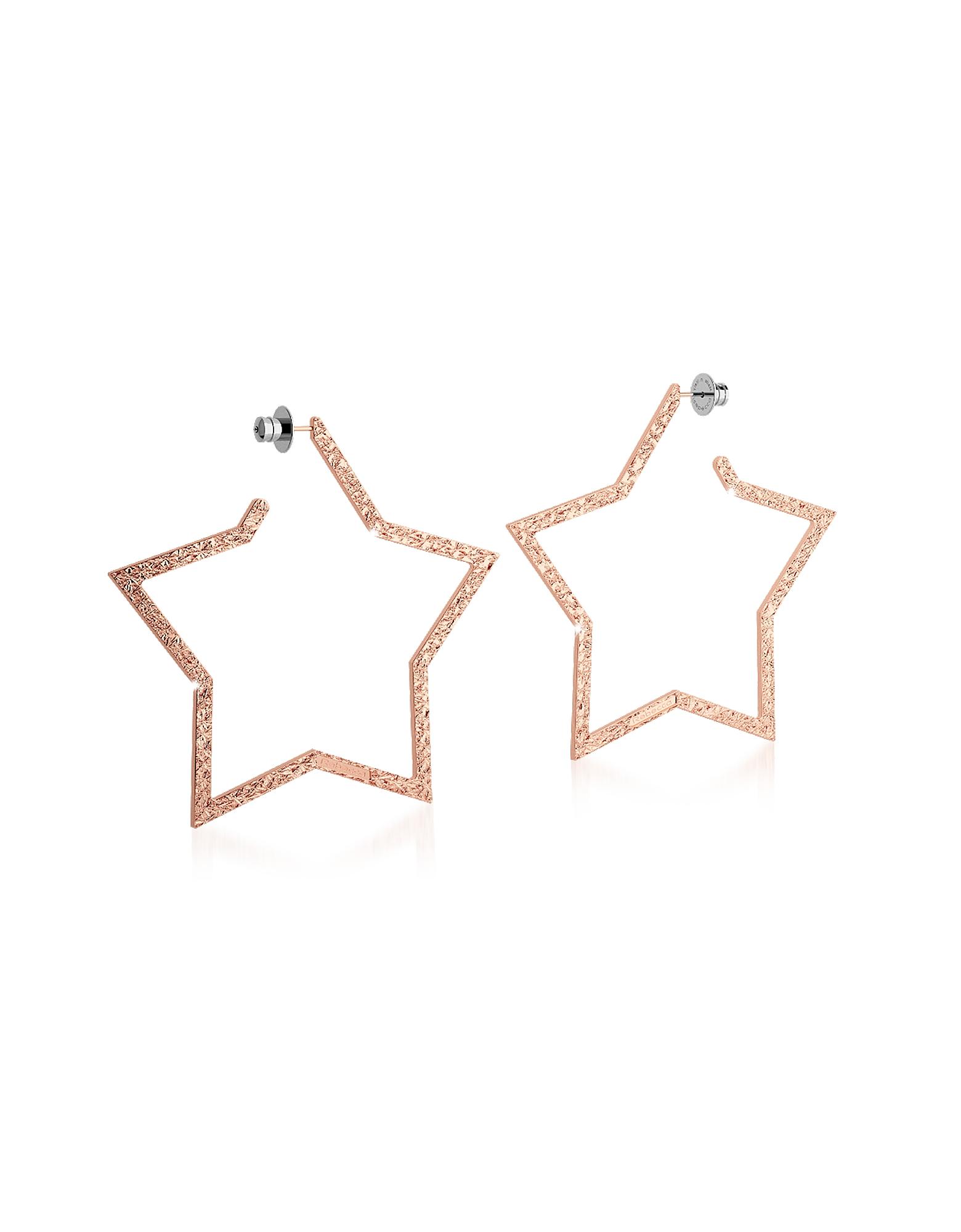 R-ZERO Rose Gold Over Bronze Star Earrings
