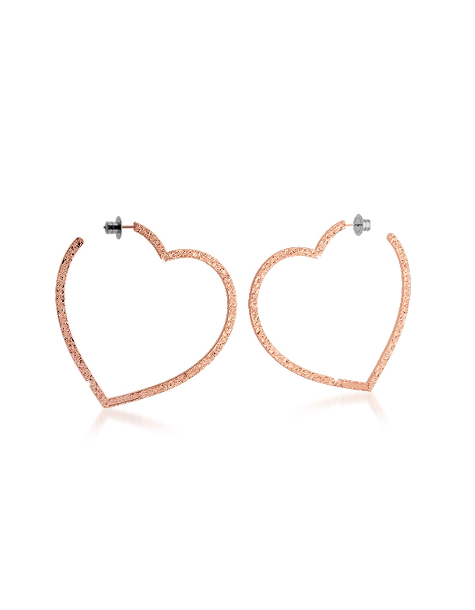 R-ZERO Rose Gold Over Bronze Heart Earrings