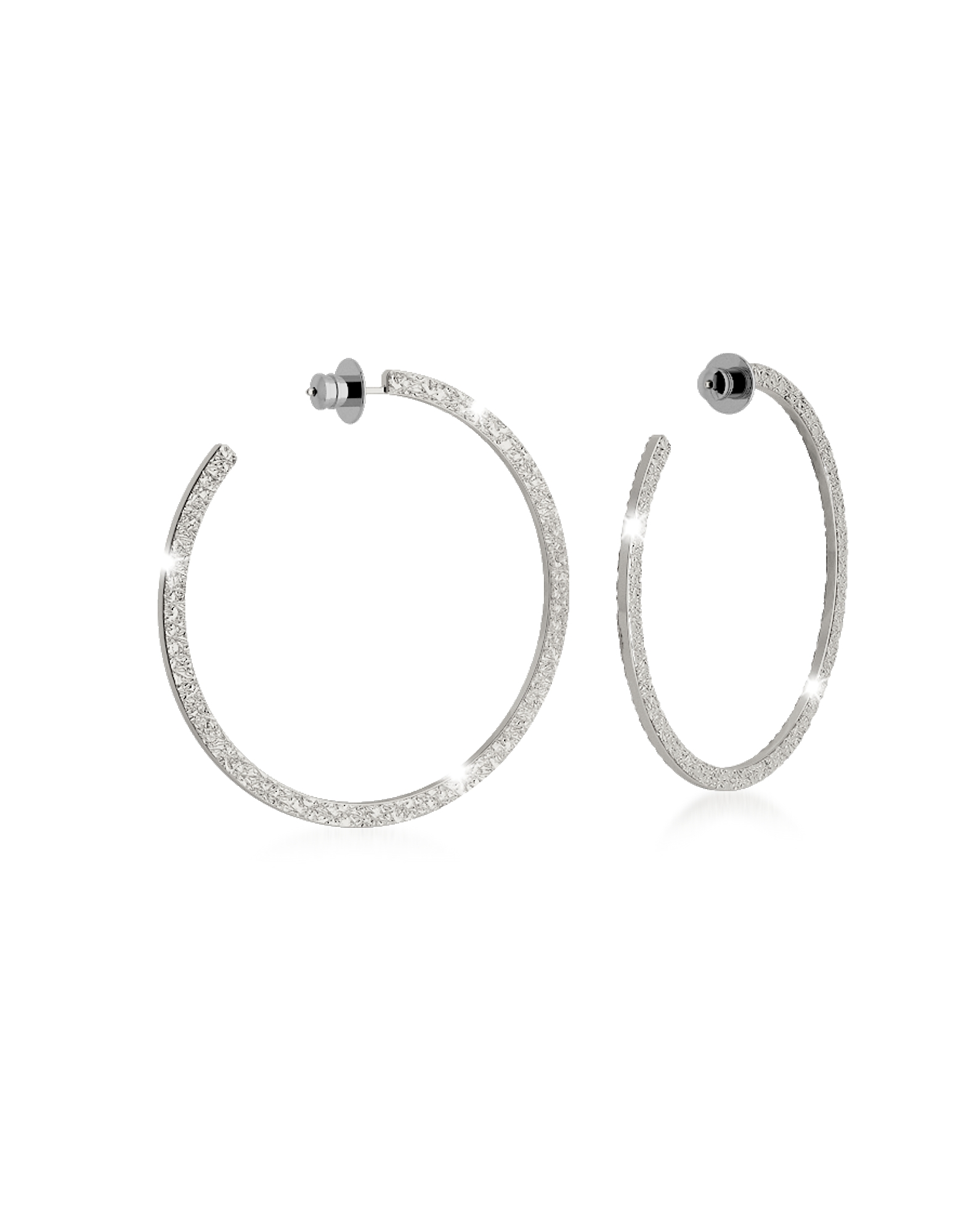Rebecca Earrings, R-ZERO Rhodium Over Bronze Hoop Earrings