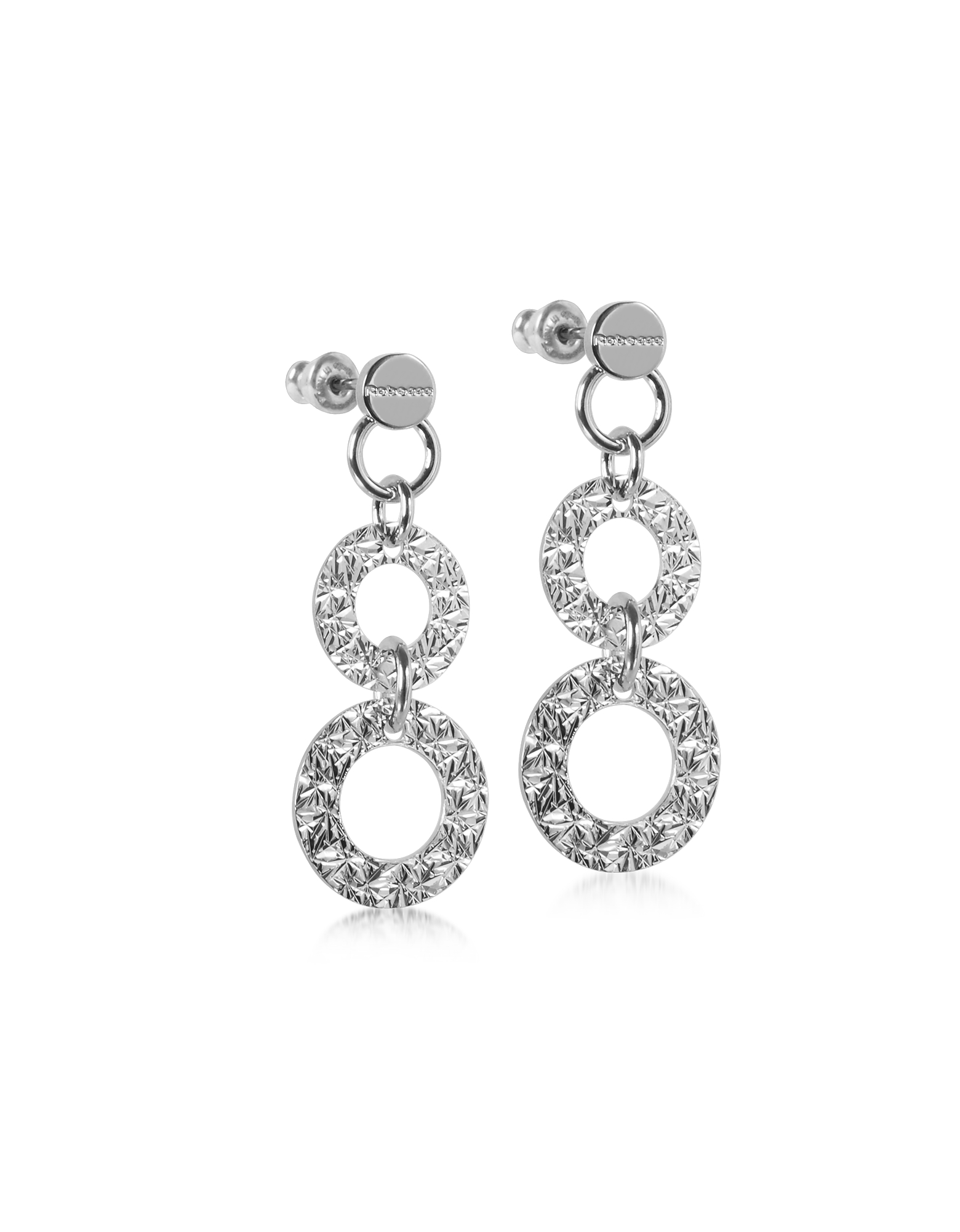 R-ZERO Rhodium Over Bronze Pendant Earrings, Silver