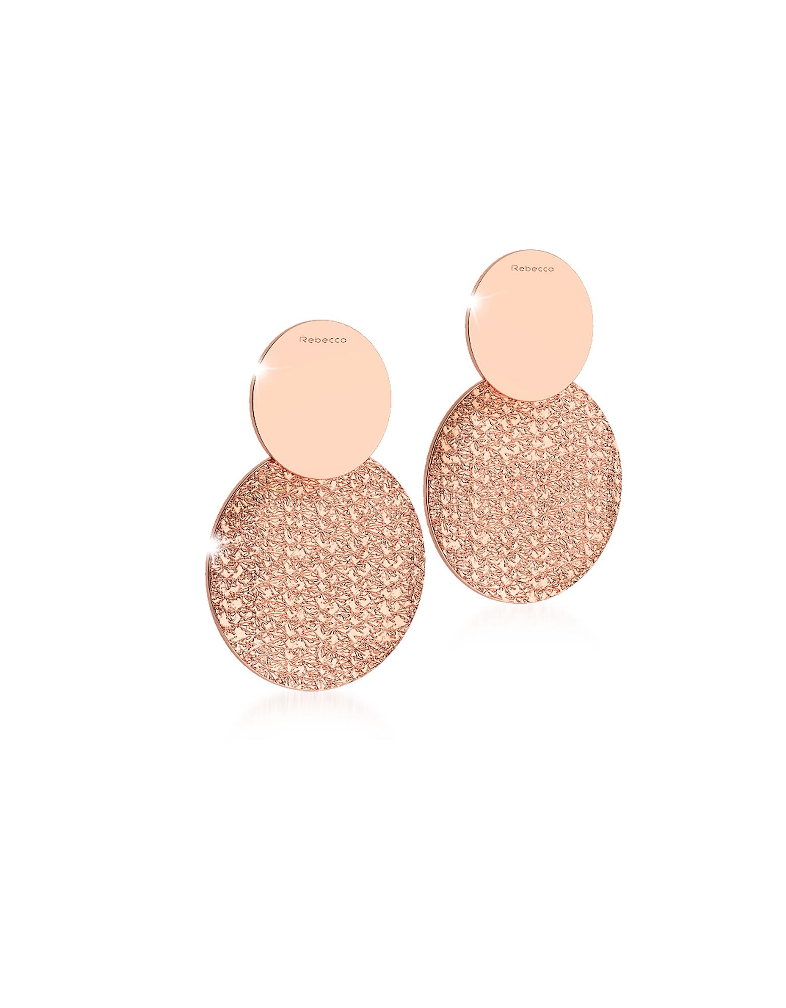 R-ZERO Rose Gold Over Bronze Drop Earrings