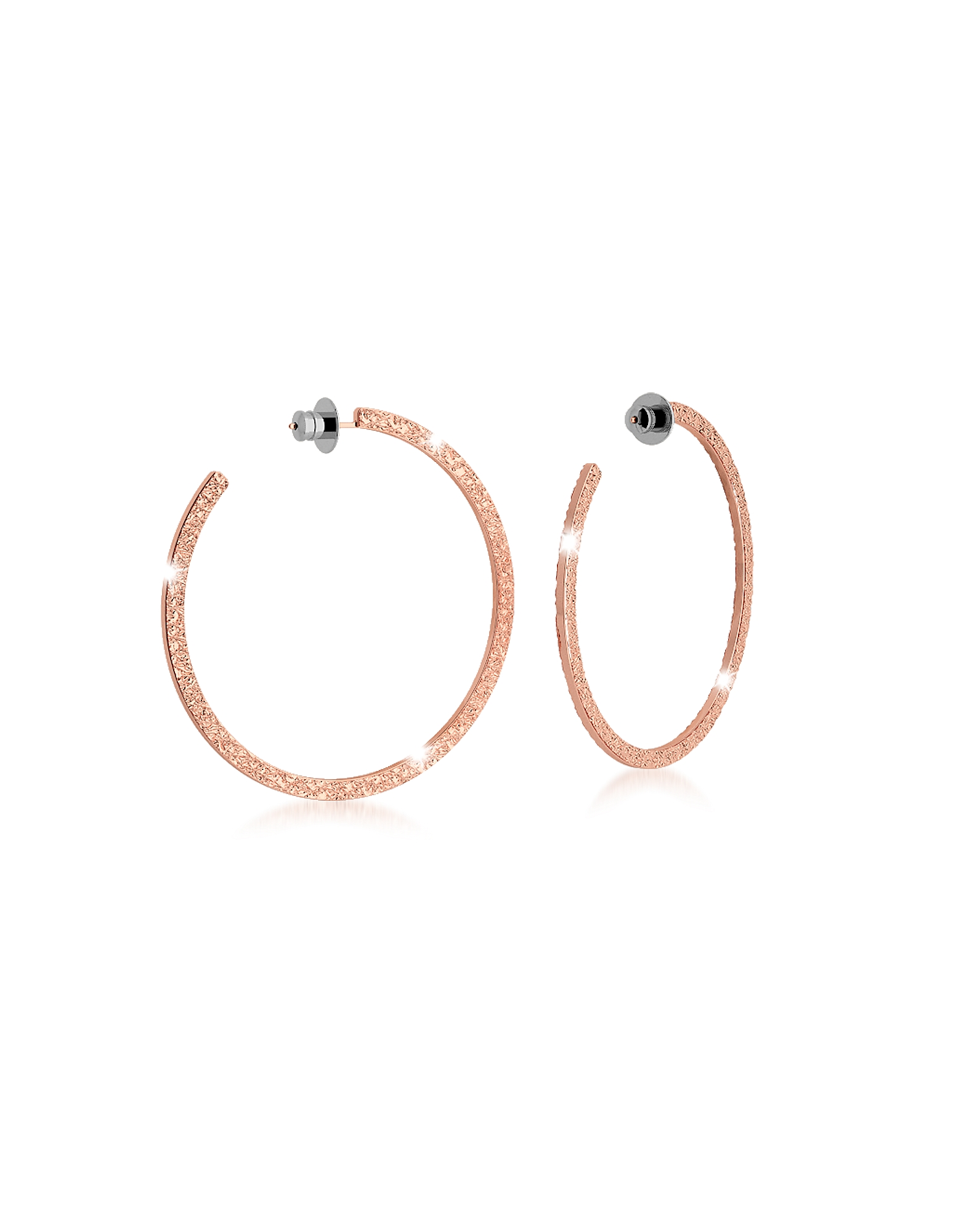 R-ZERO Rose Gold Over Bronze Hoop Earrings
