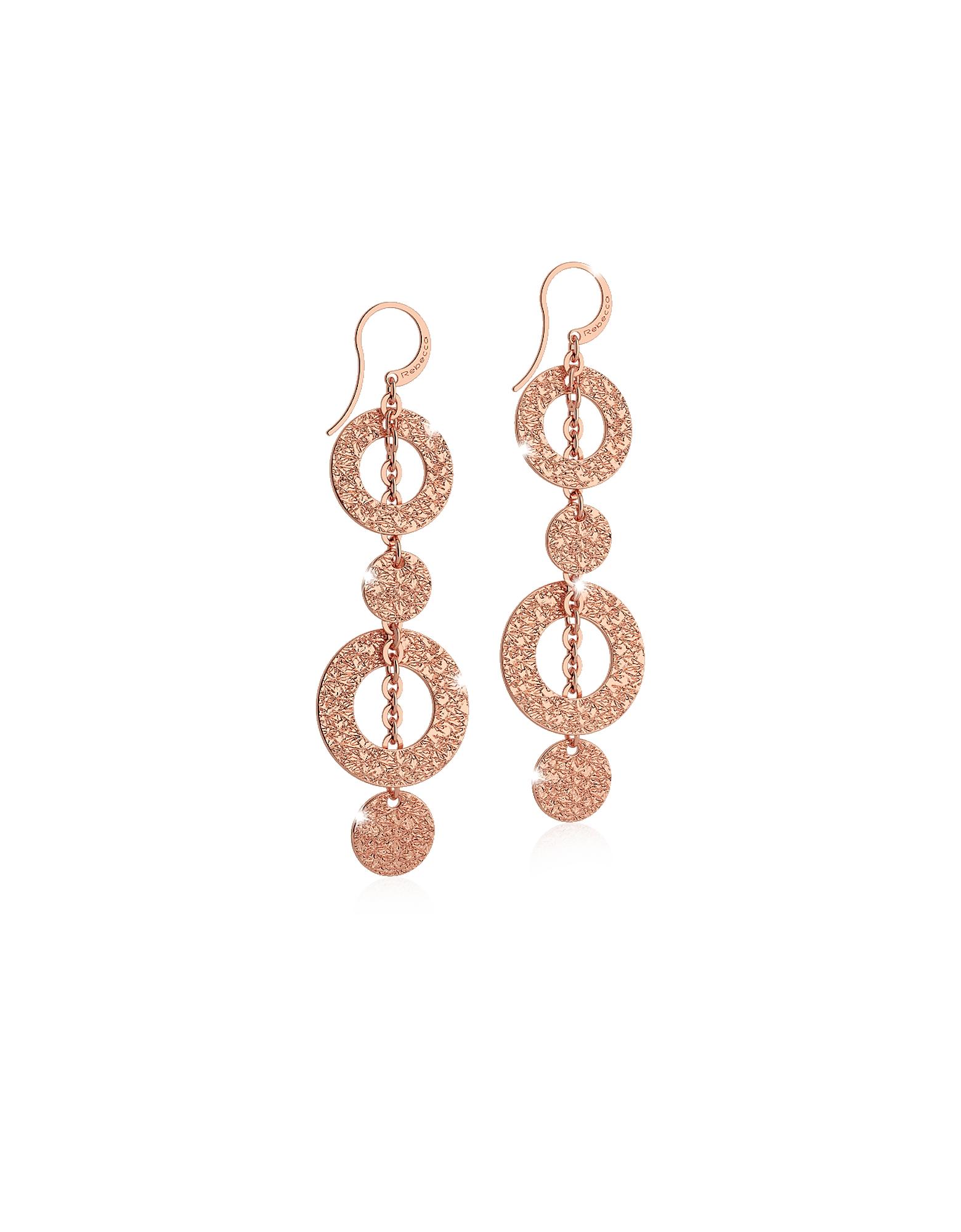 R-ZERO Rose Gold Over Bronze Pendant Earrings