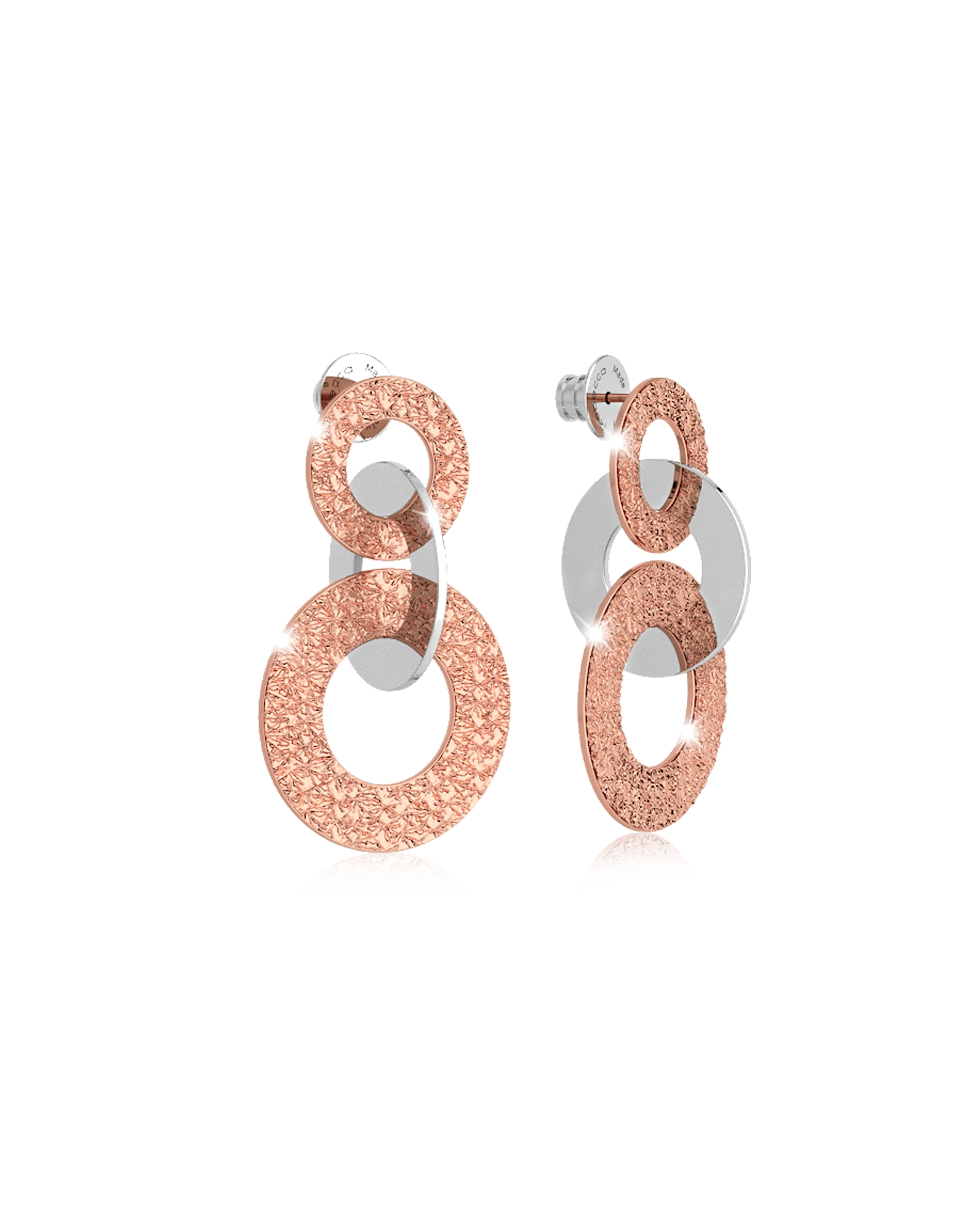 Rebecca Earrings, R-ZERO Rose Gold Over Bronze Earrings