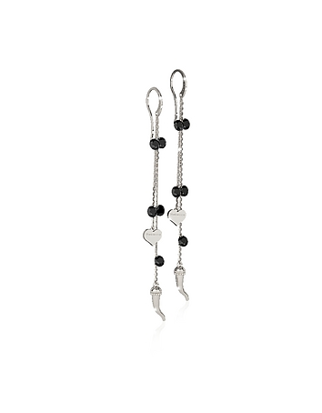 Lucciole Sterling Silver Earrings w/Black Crystals