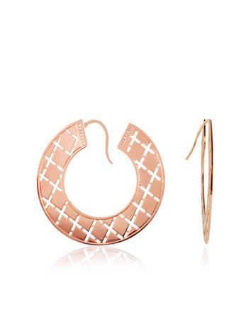 Rebecca Melrose - Rose Gold Gilded Cutout Earrings