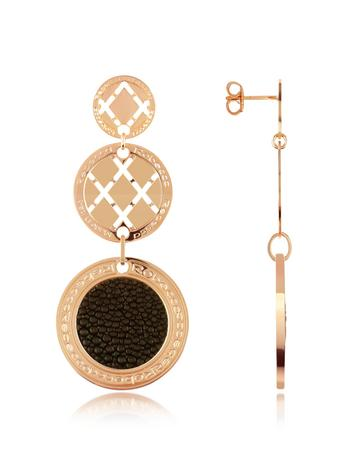 Rebecca Melrose - Rose Gold Plated and Galuchat Drop Earrings