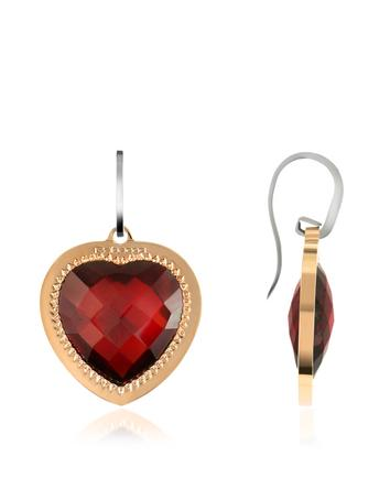 Rebecca Liberty - Rose Gold Plated Red Stone Heart Earrings