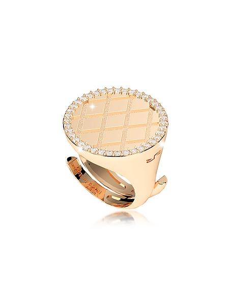 Rebecca Melrose Ring aus vergoldeter Bronze mit quadratischem Zirkon