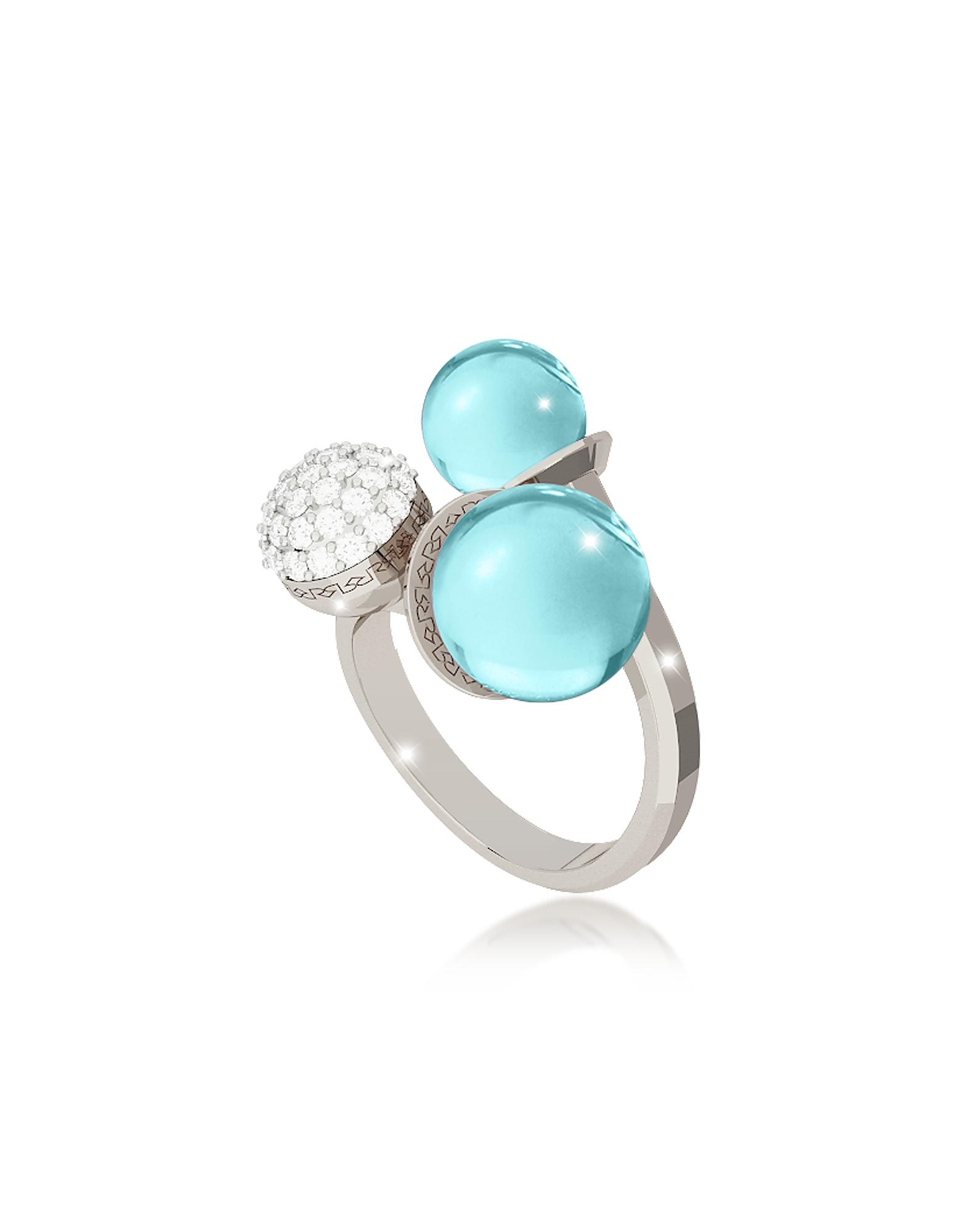 Rebecca Rings, Boulevard Stone Rhodium Over Bronze Ring w/Hydrothermal Turquoise Stones and Cubic Zi