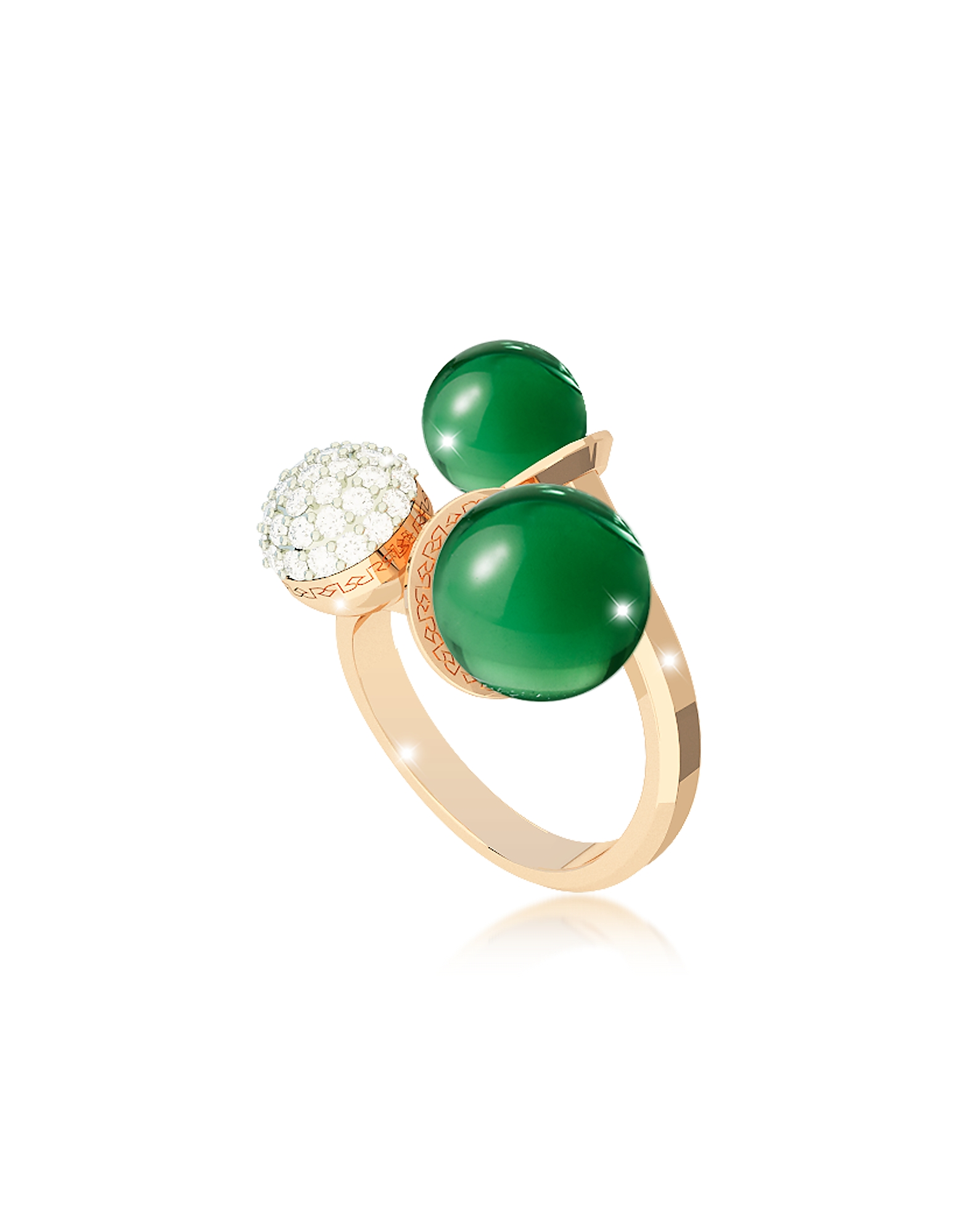 Rebecca Rings, Boulevard Stone Yellow Gold Over Bronze Ring w/Hydrothermal Green Stones and Cubic Zi