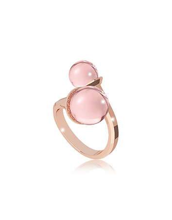 Rebecca - Boulevard Stone Rose Gold Over Bronze Contrari Ring w/Hydrothermal Pink Stones